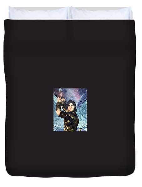 Duvet Cover featuring the painting Prince Of The Heavenly Host Saint Michael by Suzanne Silvir