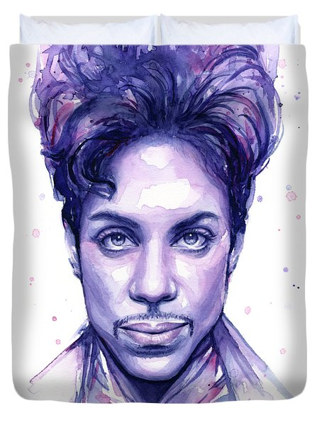 Prince Purple Watercolor Duvet Cover by Olga Shvartsur