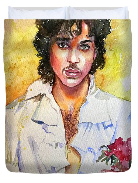 Prince Rogers Nelson Holding A Rose Duvet Cover