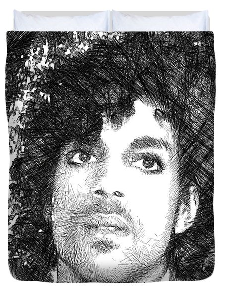 Prince - Tribute Sketch In Black And White 3 Duvet Cover