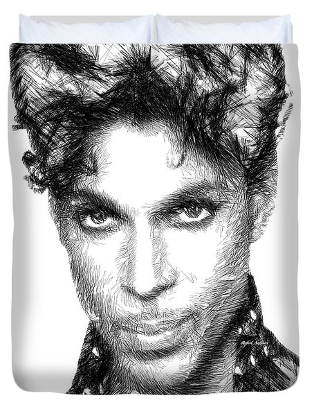 Prince - Tribute Sketch In Black And White Duvet Cover