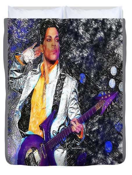 Prince - Tribute With Guitar Duvet Cover