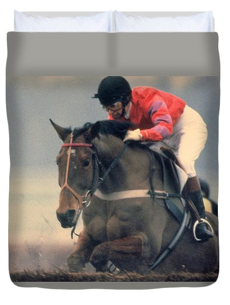 Duvet Cover featuring the photograph Princess Anne Riding Cnoc Na Cuille At Kempten Park by Travel Pics