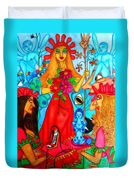 Duvet Cover featuring the painting Princess Countrywoman. by Don Pedro De Gracia