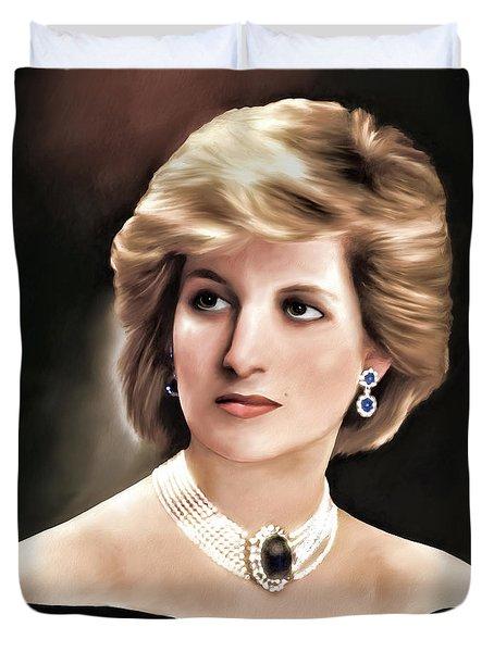 Duvet Cover featuring the digital art Princess Diana by Pennie  McCracken