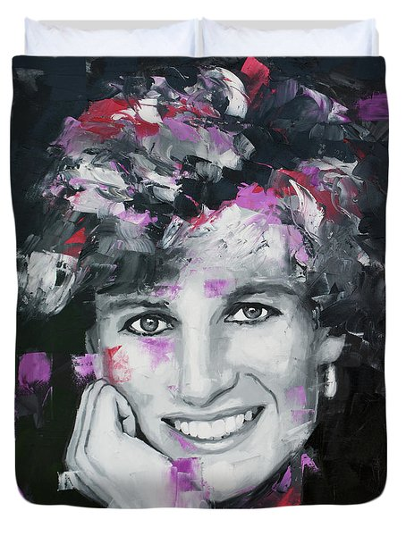 Duvet Cover featuring the painting Princess Diana by Richard Day