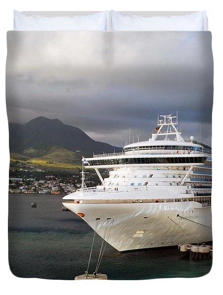 Princess Emerald Docked At Barbados Duvet Cover