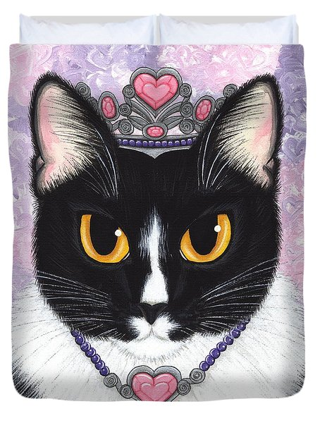Duvet Cover featuring the painting Princess Fiona -tuxedo Cat by Carrie Hawks