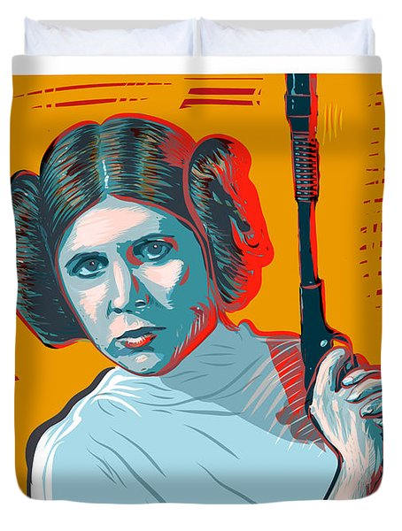 Duvet Cover featuring the digital art Princess Leia by Antonio Romero