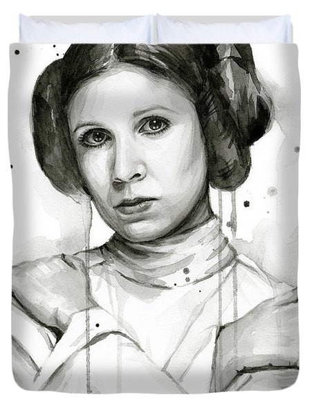 Princess Leia Portrait Carrie Fisher Art Duvet Cover