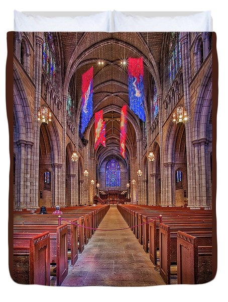 Duvet Cover featuring the photograph Princeton University Chapel by Susan Candelario