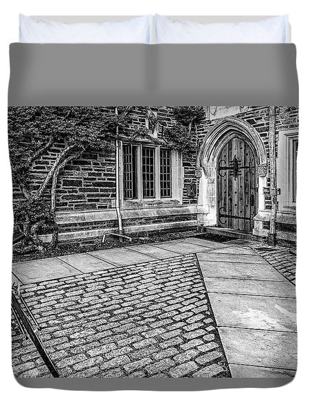 Duvet Cover featuring the photograph Princeton University Foulke Hall Bw by Susan Candelario