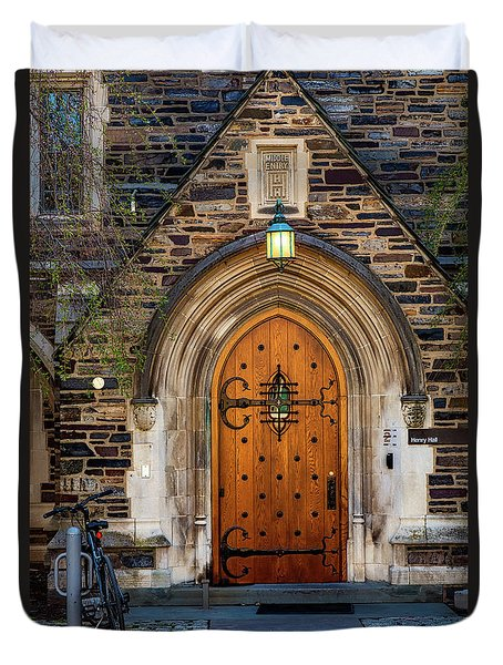 Duvet Cover featuring the photograph Princeton University Henry Hall by Susan Candelario