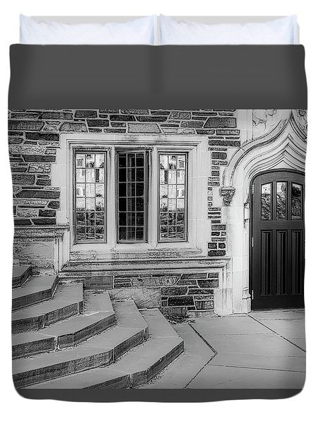 Duvet Cover featuring the photograph Princeton University Lockhart Hall Bw by Susan Candelario