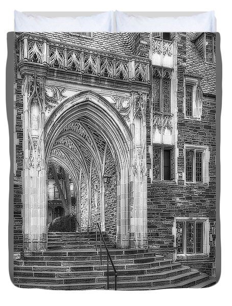 Duvet Cover featuring the photograph Princeton University Lockhart Hall Dorms Bw by Susan Candelario