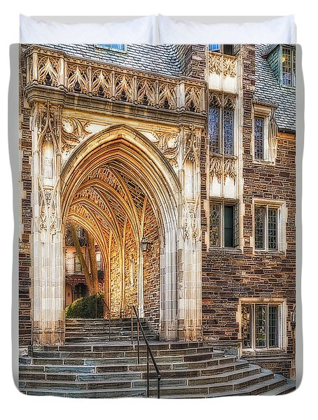 Duvet Cover featuring the photograph Princeton University Lockhart Hall Dorms by Susan Candelario