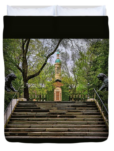Duvet Cover featuring the photograph Princeton University Nassau Hall II by Susan Candelario