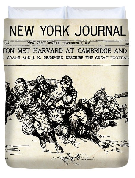 Duvet Cover featuring the mixed media Princeton Vs Harvard - New York Journal 1896 by Daniel Hagerman