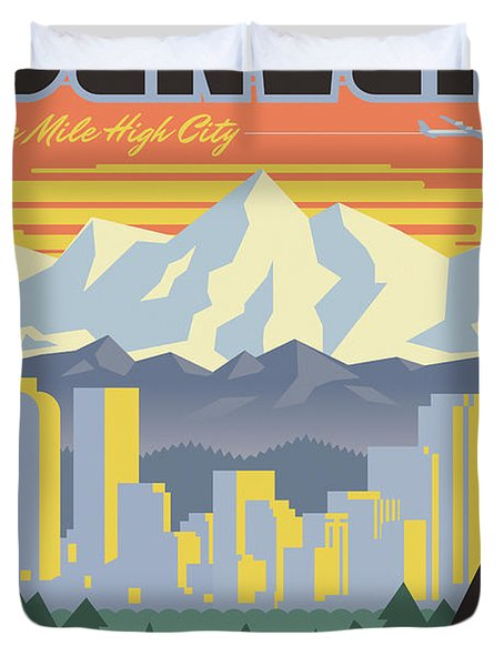Denver Poster - Vintage Travel Duvet Cover
