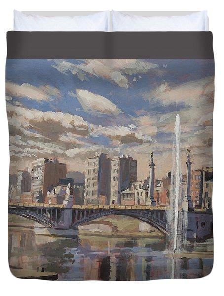 Printemps Sur Le Pont Fragnee Liege Duvet Cover by Nop Briex