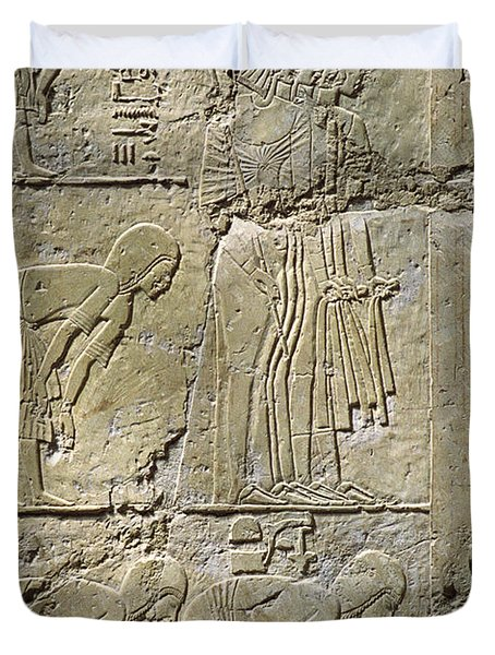 Private Tombs -painting West Wall Tomb Of Ramose T55 - Stock Image - Fine Art Print - Thebes Duvet Cover