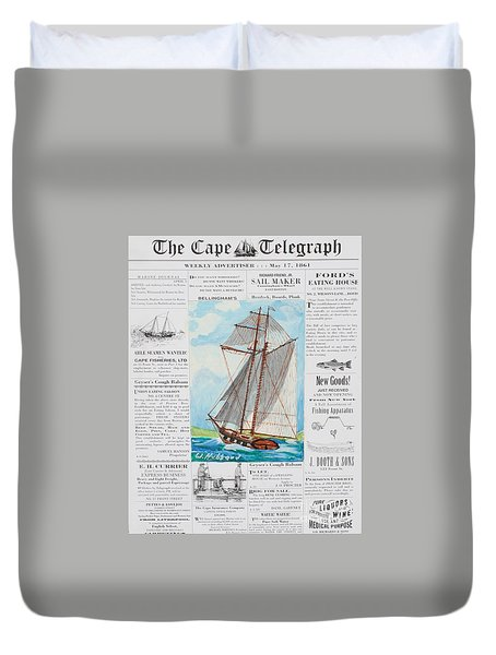 Privateer Off Charleston, Sc Duvet Cover by Bill Hubbard