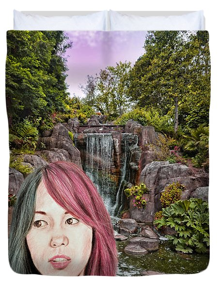 Pro Wrestling Superstar Asuka By The Waterfall  Duvet Cover