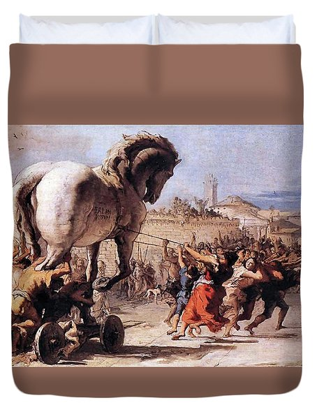 Procession Of The Trojan Horse  Duvet Cover