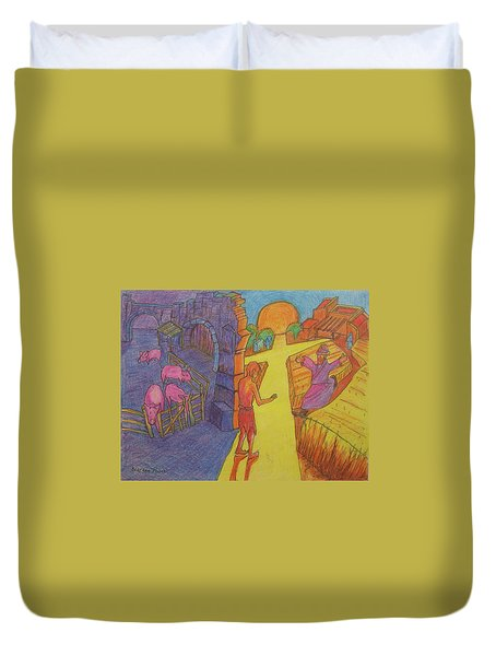 Prodigal Son Parable Painting By Bertram Poole Duvet Cover