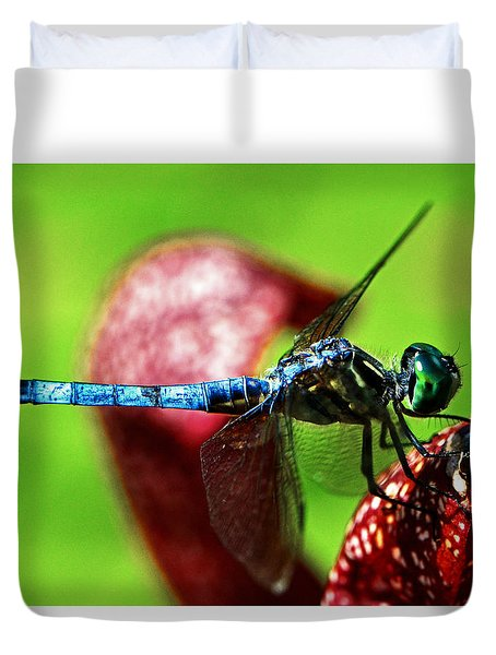 Duvet Cover featuring the photograph Profile Of A Dragonfly 003 by George Bostian