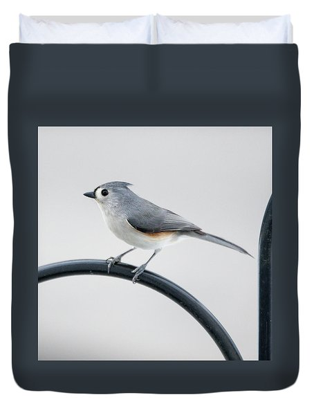 Profile Of A Tufted Titmouse Duvet Cover