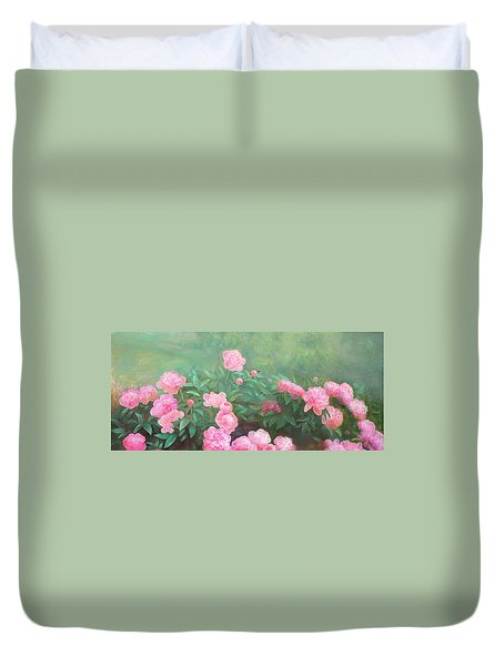 Duvet Cover featuring the mixed media Profuse Peony Blossoms by Nancy Lee Moran