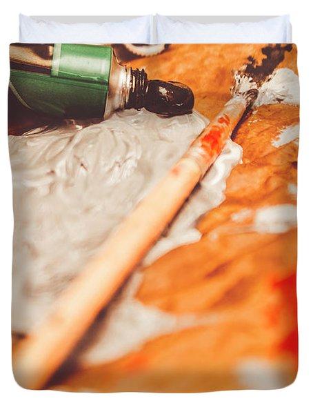 Progress Of Oil Painting Duvet Cover