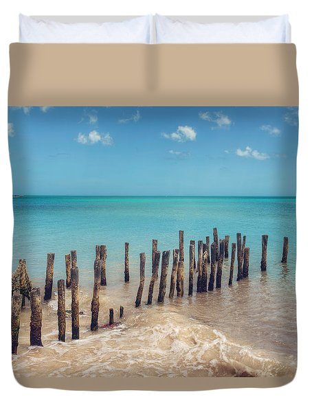 Duvet Cover featuring the photograph Progresso Beach by Ray Devlin