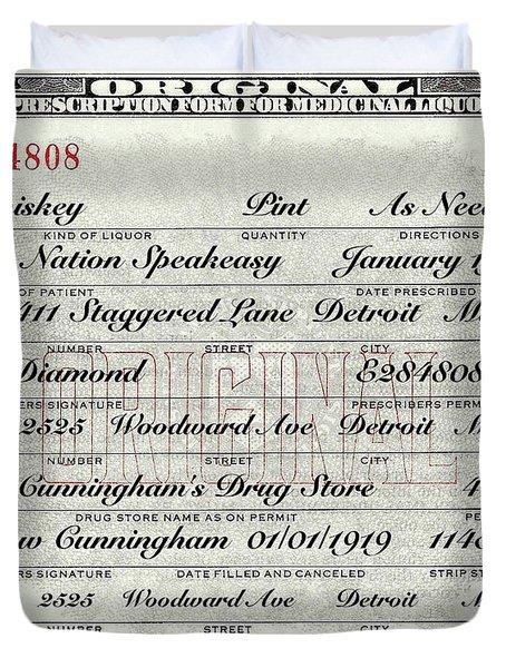 Prohibition Prescription Certificate Carrie Nation Speakeasy Duvet Cover