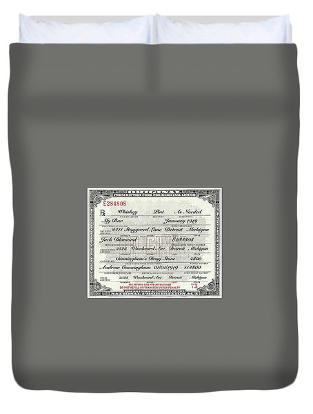 Duvet Cover featuring the photograph Prohibition Prescription Certificate My Bar, by David Patterson