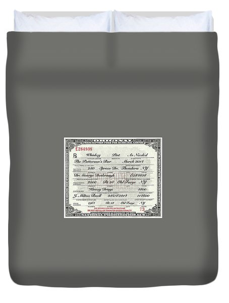 Duvet Cover featuring the photograph Prohibition Prescription Certificate Personalized by David Patterson