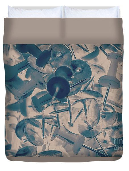 Projected Abstract Blue Thumbtacks Background Duvet Cover
