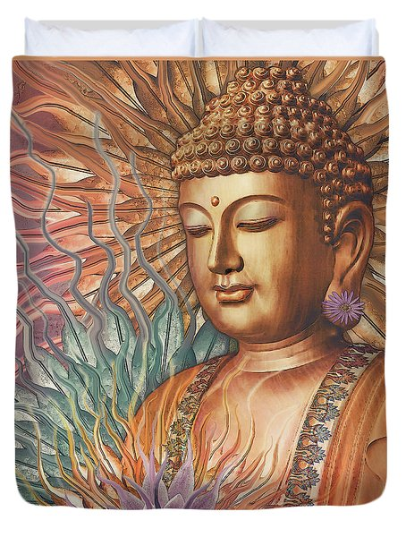 Proliferation Of Peace - Buddha Art By Christopher Beikmann Duvet Cover