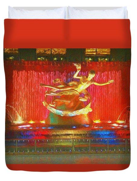 Prometheus Statue Rockefeller Center Duvet Cover