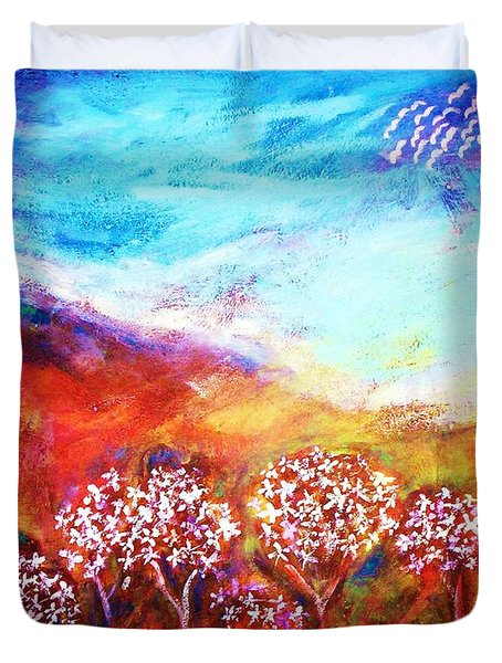 Duvet Cover featuring the painting Promise by Winsome Gunning