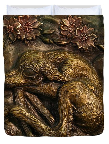 Duvet Cover featuring the sculpture Pronghorn Newborn With Bitterroot by Dawn Senior-Trask