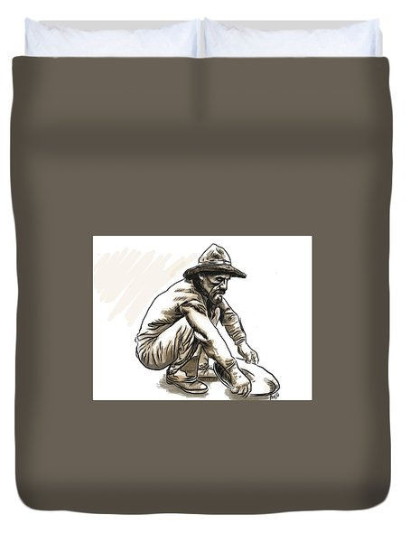 Duvet Cover featuring the drawing Prospector by Antonio Romero