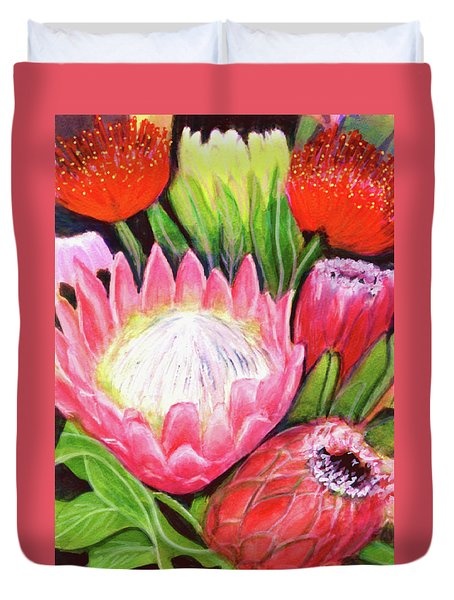 Protea Flowers #240 Duvet Cover by Donald k Hall