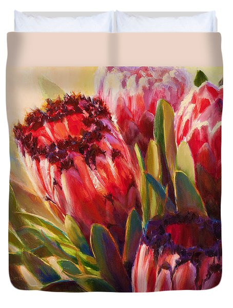 Duvet Cover featuring the painting Protea - Tropical Flowers From Hawaii by Karen Whitworth