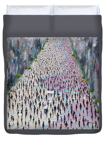 Duvet Cover featuring the painting Protesters by Judith Rhue