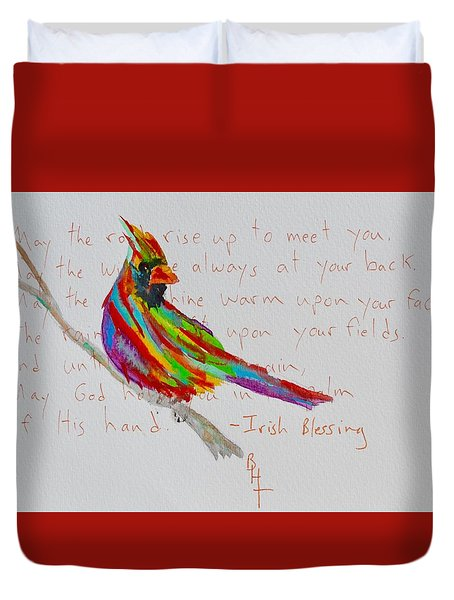 Proud Cardinal With Blessing Duvet Cover by Beverley Harper Tinsley
