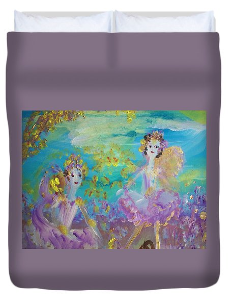 Proud Fairies Keep On Rolling Duvet Cover by Judith Desrosiers