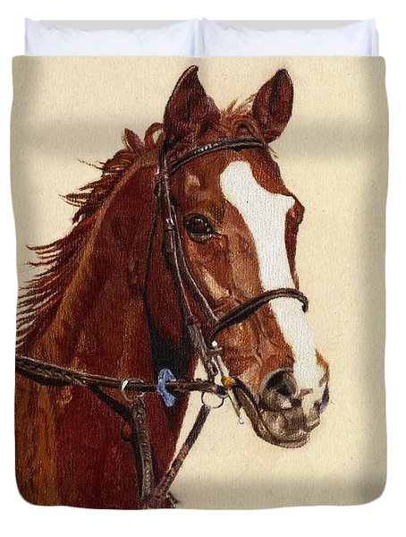 Proud - Portrait Of A Thoroughbred Horse Duvet Cover