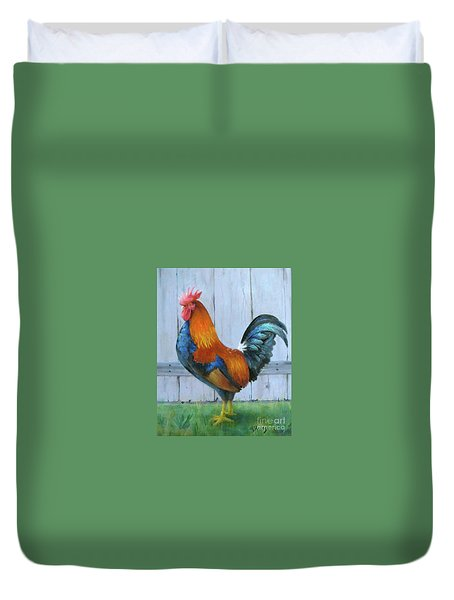 Duvet Cover featuring the painting Proud Rooster by Oz Freedgood